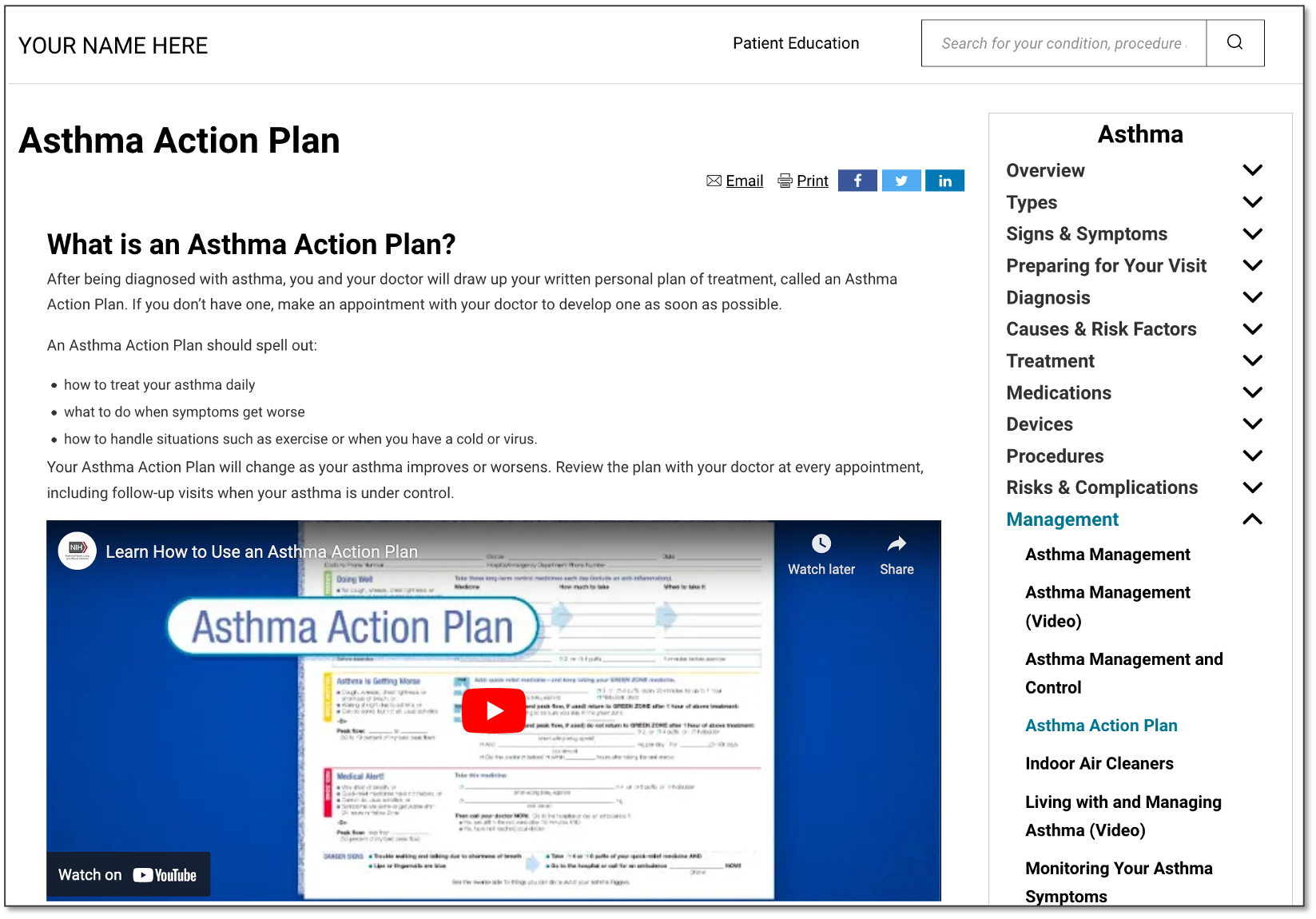 Asthma Action Plan Patient Education